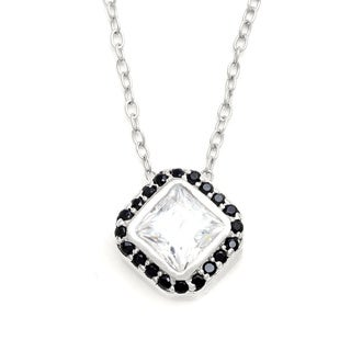 Sunstone Sterling Silver Square Drop Necklace Made with Swarovski Zirconia