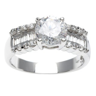 Sterling Essentials Silver Baguette CZ Solitaire Engagement-style Ring