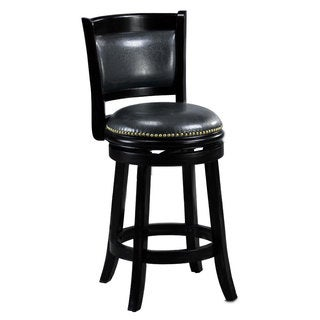 'Alexis' Black Padded Back 24-inch Counter Stool