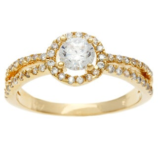 Sterling Essentials 14k Gold over Silver CZ Engagement-style Ring