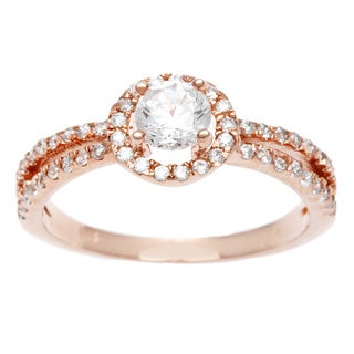 Sterling Essentials Rose Gold over Silver CZ Engagement-style Ring