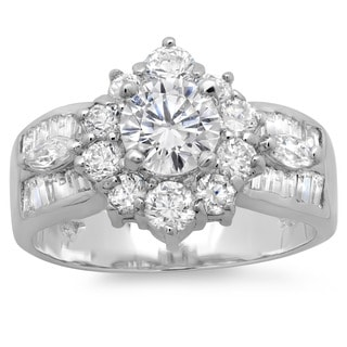 Sterling Essentials Silver CZ Vintage-inspired Engagement-style Ring
