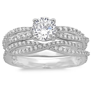 Sterling Essentials Silver Round CZ Intertwined Bridal-style Ring Set
