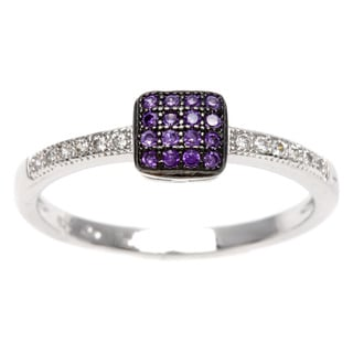 Sterling Essentials Silver Purple Cubic Zirconia Stackable Ring