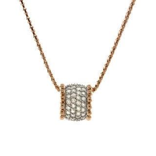 Beverly Hills Charm 14k Gold 3/4ct TDW Diamond Barrel Necklace (H-I, I2-I3)