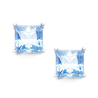 Sunstone Sterling Silver Square Stud Earrings made with Swarovski Zirconia with Gift Box