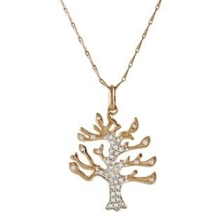 Beverly Hills Charm 14k Rose Gold 1/4ct TDW Diamond 'Tree of Life' Necklace (H-I, I2-I3)