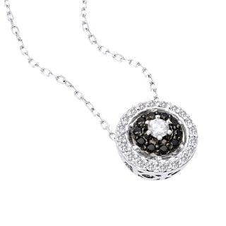 Beverly Hills Charm 14k Gold 1/2ct TDW Black and White Diamond Halo Necklace (H-I, SI2-I1)