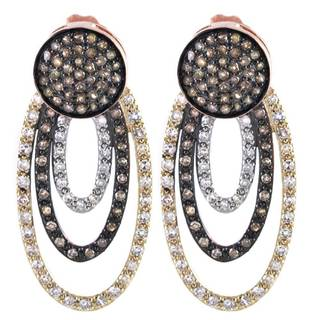 Beverly Hills Charm 14k Gold 1ct TDW Brown and White Diamond Drop Earrings (H-I, I2-I3)