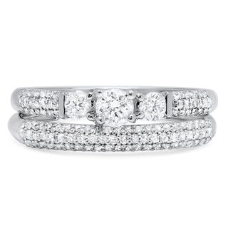 14k White Gold 7/8ct TDW Diamond Pave Bridal Ring Set (H-I, I1-I2)