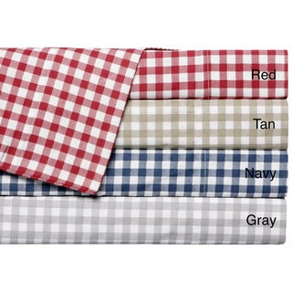 Harvard Check 300 Thread Count Cotton Sateen Sheet Set