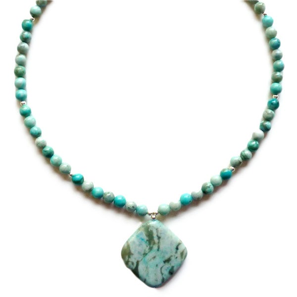 Every Morning Design Turquoise Jasper Pendant Necklace