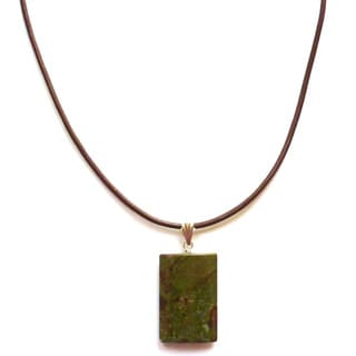Every Morning Design Dragon Jasper Pendant and Brown Leather Necklace