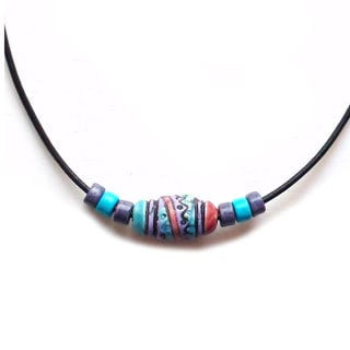 Every Morning Design Blue and Purple Peruvian Bead Necklace
