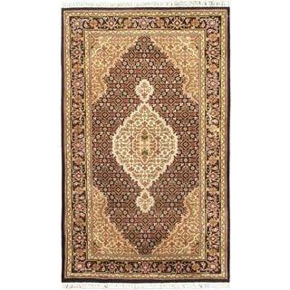 "Hand-knotted Tabriz Haj Jalili Black Wool Rug (3'1"" x 5')"