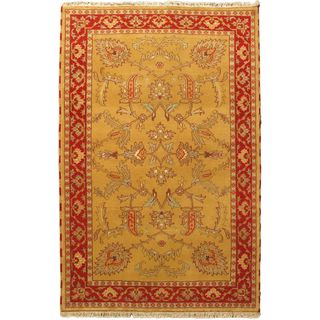 Hand-knotted Royal Kazak Khaki Wool Area Rug (5' x 7'8)