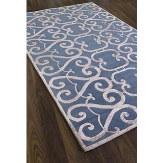 Hand-made Renaissance Blue Wool Area Rug (5' x 8')