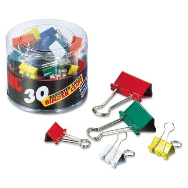 Officemate Binder Clips Metal Assorted Colors/Sizes 30/Pack