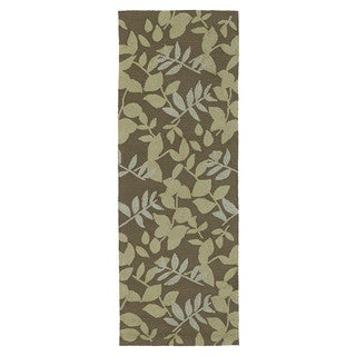 Fiesta Chocolate Indoor/ Outdoor Leaves Rug (2'0 x 6'0)
