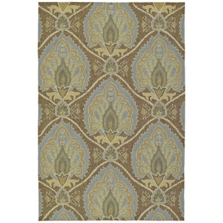 Fiesta Brown Indoor/ Outdoor Damask Rug (2'0 x 3'0)