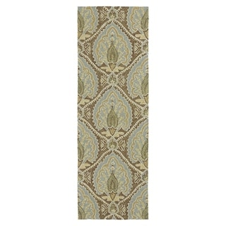 Fiesta Brown Indoor/ Outdoor Damask Rug (2'0 x 6'0)