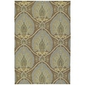 Fiesta Brown Indoor/ Outdoor Damask Rug (3'0 x 5'0)