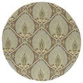 Fiesta Brown Indoor/ Outdoor Damask Rug (5'9 Round)