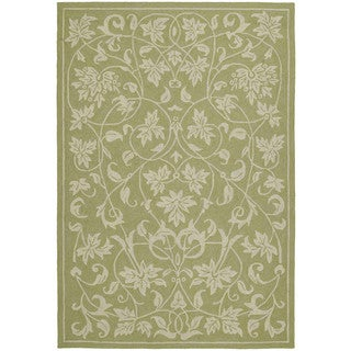 Fiesta Avocado Indoor/ Outdoor Scroll Rug (5'0 x 7'6)