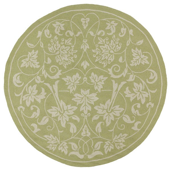 Fiesta Avocado Indoor/ Outdoor Scroll Rug (7'9 Round)