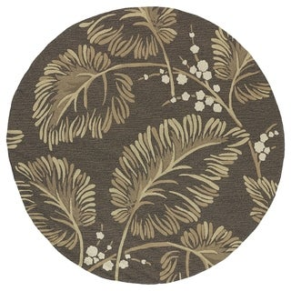 Fiesta Chocolate Indoor/ Outdoor Palms Rug (5'9 Round)