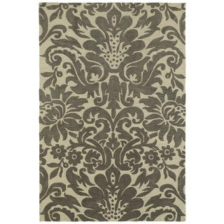 Brookside Damask Taupe Polyester Rug (7'6 x 9'0)
