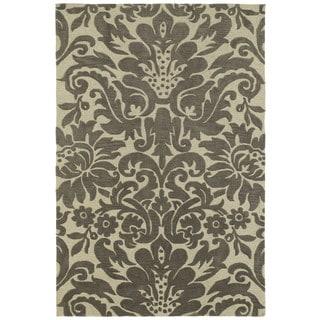Brookside Damask Taupe Polyester Rug (9'6 x 13'0)