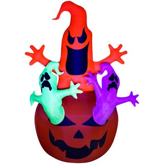 84-inch High Halloween Airblown Inflatable Pumpkin Jack Neon Ghost Trio