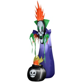 78-inch High Halloween Airblown Inflatable Haunting Reaper and Cauldron
