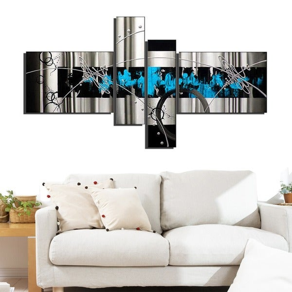 'Blue Abstract' Hand Painted Canvas Art (4 Piece) 11818294