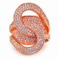 Rose Gold over Sterling Silver CZ Loop Ring