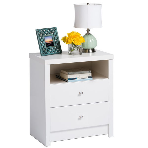 Pure white nolita tall 2 drawer nightstand 15707480 for Extra tall nightstands