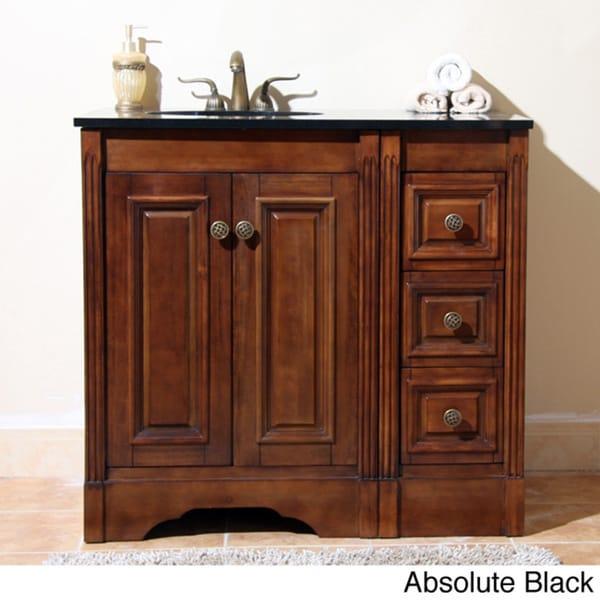Simple 36 Inch Single Sink Bathroom Vanity Cabinet With Marble Top  Item
