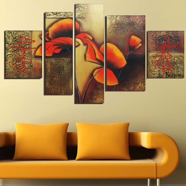 'Orange Floral Textured Abstract' Hand Painted Canvas Art (5 Piece)