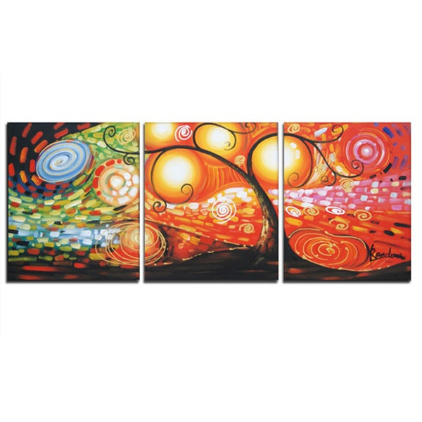 'Abstract Tree' Hand Painted Canvas Art (3 Piece) 11818735