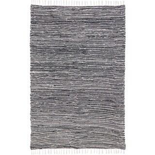 Black Reversible 5 x 8-foot Chenille Flat Weave Rug