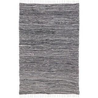 Black Reversible Chenille 8 x 10 Flat Weave Rug