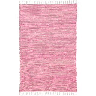 Pink Reversible Chenille Flat Weave Rug (8' x 10')