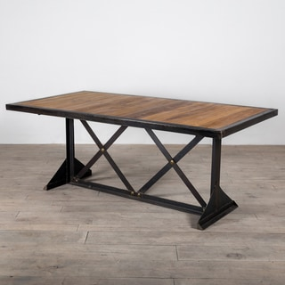 Handcrafted Franklin Teak and Metal Dining Table (India)