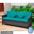 Lisbon Resin Wicker Sofa with Corded Cushions and Throw Pillows