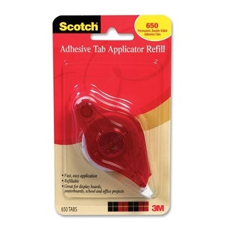"""Scotch Adhesive Tab Roller & Refill 1/2"""" x 1/4"""" 650 tabs"""