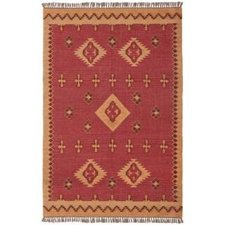 Hand Woven 4x6-foot Antiquity Jute & Wool Flat Weave Rug
