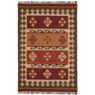 Hand Woven 4x6-foot Jewel Wool Flat Weave