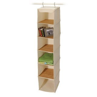 Richards Homewares Carmelized Bamboo and Natural Canvas 6-shelf Sweater Organizer