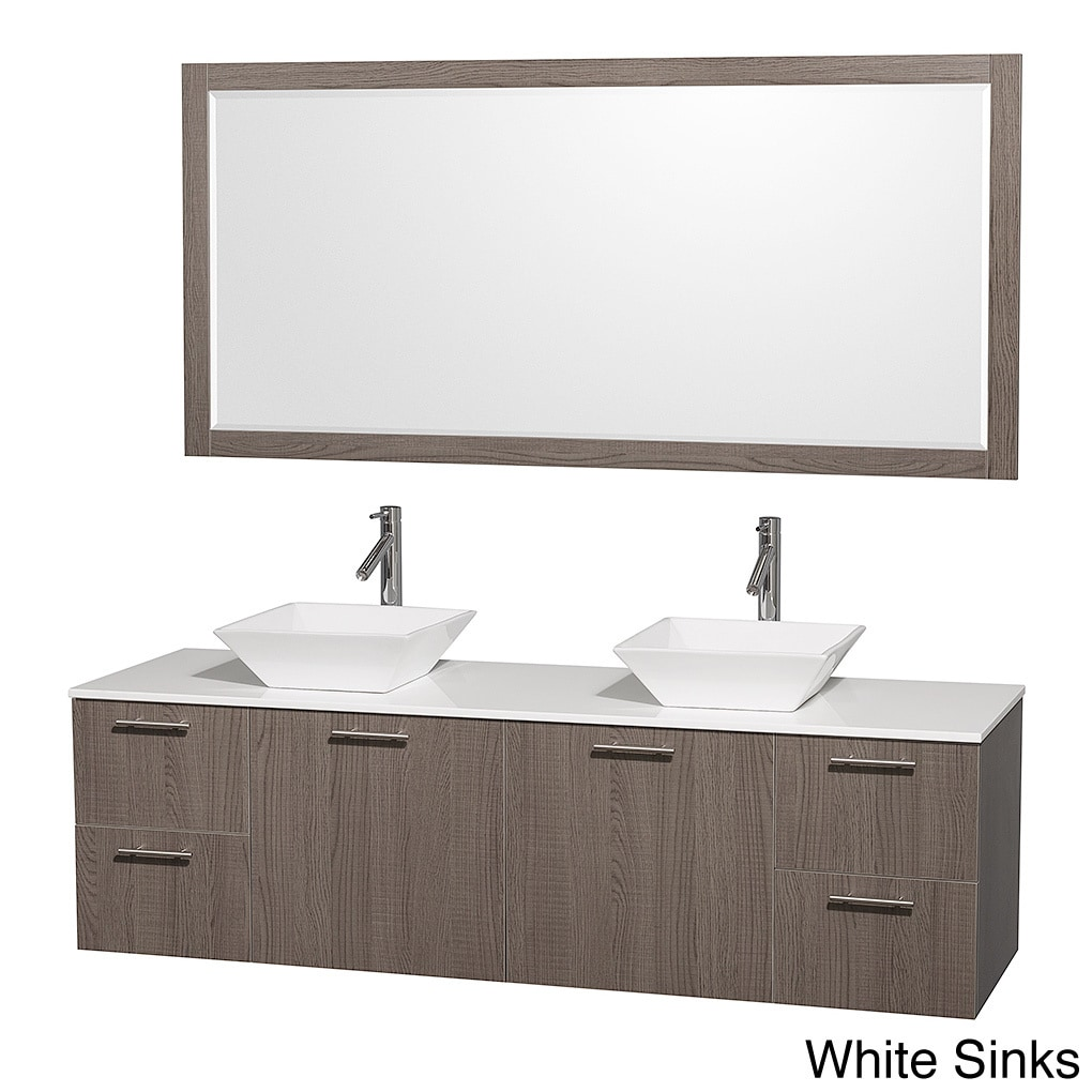 Amare Grey Oak 72 Inch Double Bath Vanity And 70 Inch Mirror Overstock Shopping Great Deals